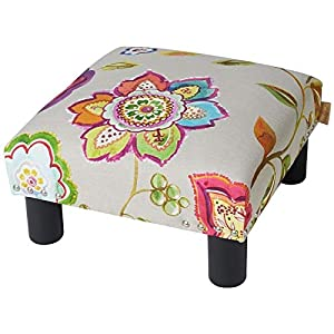 Brika Home Square Accent Footstool Ottoman in Off White Floral