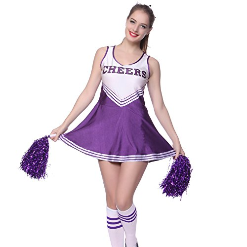 [VARSITY COLLEGE SPORTS CHEERLEADER UNIFORM COSTUME OUTFIT purple L us 10 12] (Halloween Costumes Of Cheerleaders)