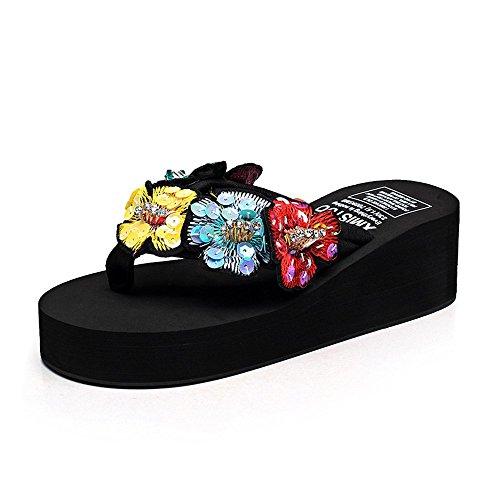 fondo nero 5 estate EU36 Colore bianco UK3 CN35 spesso Femmina da Dimensioni 5 cm spiaggia CN38 LISABOBO 5 nero EU38 blu confortevole pantofole 5 UK5 scarpe elegante rosa antiscivolo x1qwXpnnHC