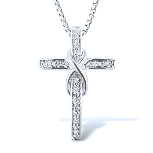 Diamond Cross Necklace in Rhodium Plated Sterling Silver