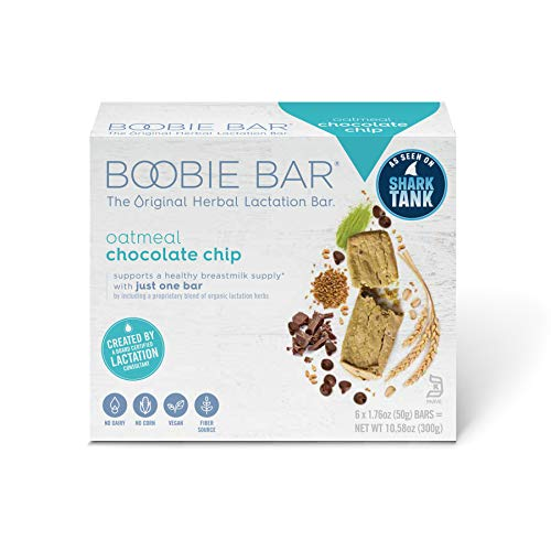 Boobie Bar – The Original Lactation Bar – Oatmeal Chocolate Chip – 6 Individually Wrapped Bars (Body Oatmeal Cookie)