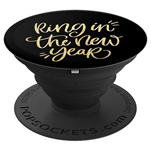 New Year 2019 Black Gold Cute Hand Lettered Quote Lettering - PopSockets Grip and Stand for Phones and Tablets]()