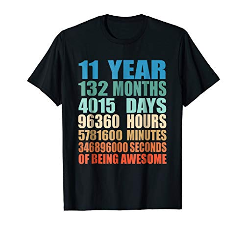 11 Years Old 11th Birthday Vintage Retro T-Shirt 132 Months -