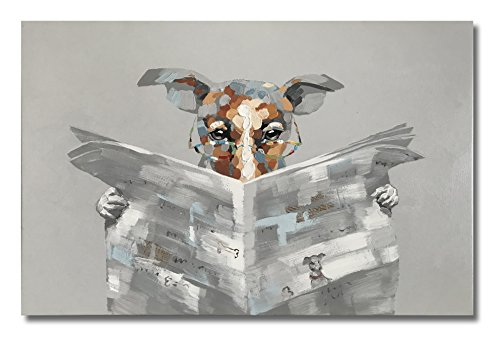 "Paimuni Funny Dog Oil Paintings, 100% Hand Painted Modern Cute Animal Artworks A Dog Reading Newspapers Canvas Wall Art Stretched and Framed Ready to Hang Living Room Bedroom Office Bathroom 36""X24"""