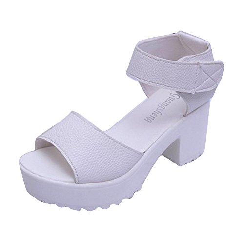 Transer Women Open Toe Platform High Heel Gladiator Sandals Chunky Shoes White S6UXz9