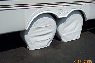 "PAIR Storage Vinyl Tire Covers 30"" - 32"" Diameter Tires Polar White for RV, Trailers, Camper Fits 15"" 16"" Rim Sizes Like 235/75/15, 245/75/15, 245/75/16, 265/75/15"