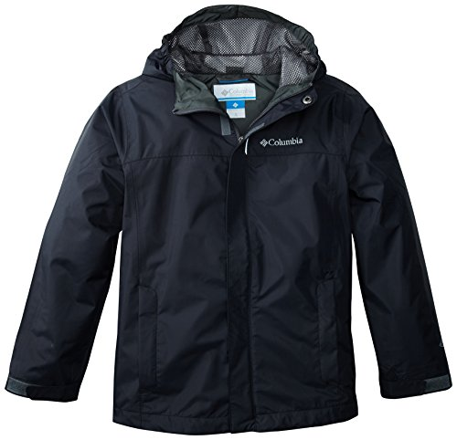 Columbia Boys' Big Watertight Jacket, Waterproof and Breathable, Black, Large
