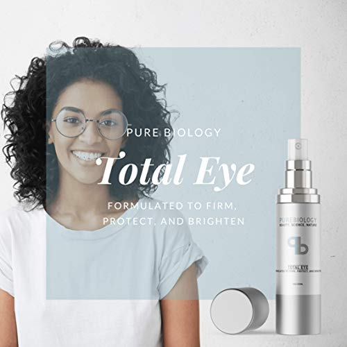 Pure Biology Total Eye Cream with Hyaluronic Acid, Baobab Oil & Anti Aging Complexes to Reduce Dark Circles, Puffiness, Under Eye Bags, Wrinkles & Fine Lines for Men & Women