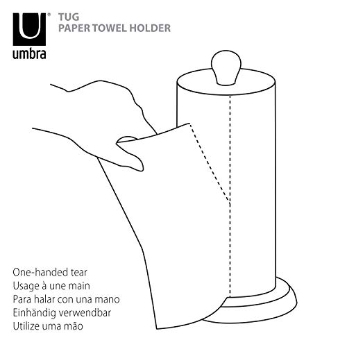 Umbra Tug Modern Stand Up Paper Towel Holder – Easy One-Handed Tear Kitchen Paper Towel Dispenser with Weighted Base for Standard Paper Towel Rolls, Nickel