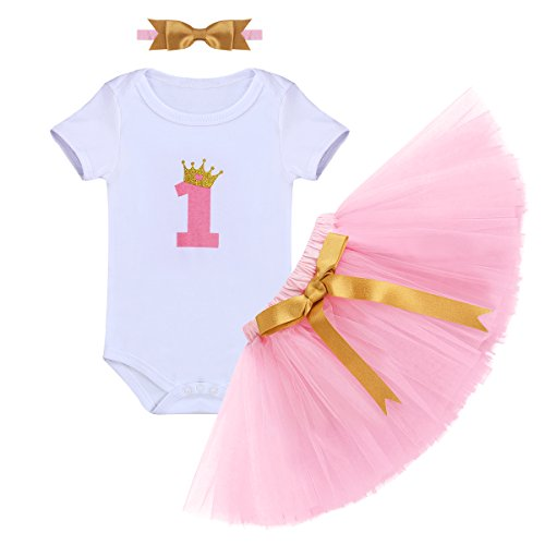 IBTOM CASTLE Baby Girl It's My 1st Birthday 3Pcs Outfits Skirt Set Romper+Tutu Dress+Headband Cake Smash Crown Bodysuit Clothes Jumpsuit #2 Pink One -