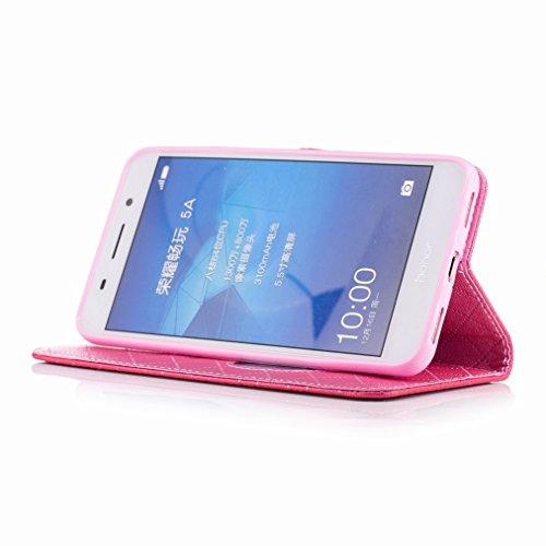 Yiizy Huawei Honor Holly 3 / Huawei Y6 II Custodia Cover, Amare Design Sottile Flip Portafoglio PU Pelle Cuoio Copertura Shell Case Slot Schede Cavalletto Stile Libro Bumper Protettivo Borsa (Rose Red
