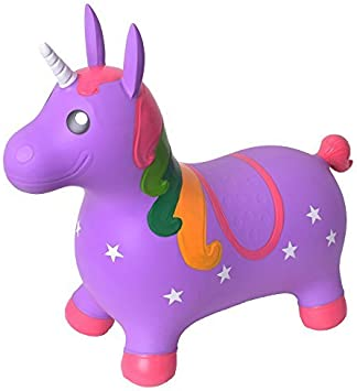TE-Trend Caballo Saltos Animal de Brincar Unicornio Unicorn Caballo de Brincar hasta 50kg Resistente en Púrpura o Rosa - Lila, Morado