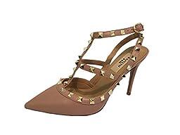 Kaitlyn Pan RockStud Slingback High Heel Leather Pumps (8.5US/ 39EU/ 40CN, Poudre matte/Nude Straps/Gold Studs)