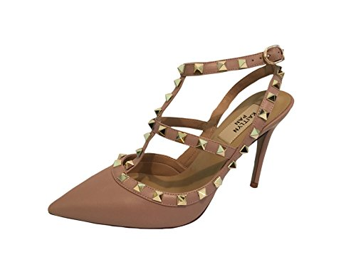 Kaitlyn Pan RockStud Slingback High Heel Leather Pumps (8.5US/ 39EU/ 40CN, Poudre matte/Nude Straps/Gold Studs) by Kaitlyn Pan