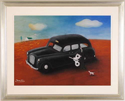 パステル画 絵画 ゼンマイ仕掛けの車 タクシー 犬 小林めいき 「タクシードライバーの休日」 額付き   B07Q7QPXSP