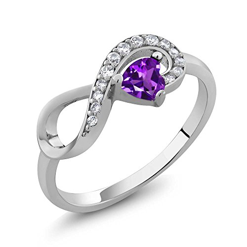 Amethyst Engagement Genuine Ring - 925 Sterling Silver Purple Amethyst Women's Infinity Ring 0.33 Ctw Heart Shape Gemstone Birthstone (Size 9)