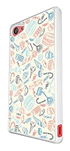 1219 - Sweet Collage Choco Ice Cream Candy Cupcake Design For Sony Xperia Z5 Compact Fashion Trend CASE Back COVER Plastic&Thin Metal - White