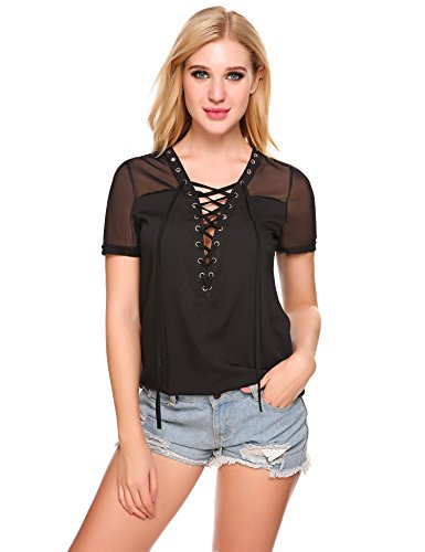 (Zeagoo Women's V-Neck Lace Up Mesh Shoulder Short Sleeve Stretch Chiffon Blouse Shirt Tops Black )