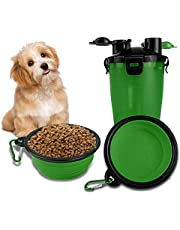 Goaup Dog Travel Water Bottle -2 in 1 Portable Dog Food and Water Dispenser with 2 Collapsible Silicone Bowls, Pet Food Container for Outdoor Walking Hiking (Green)