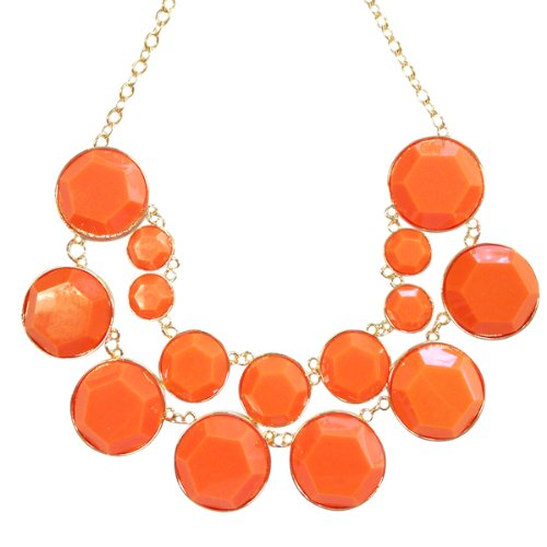 Wrapables Designer Inspired Double Layer Bubble Necklace, Orange