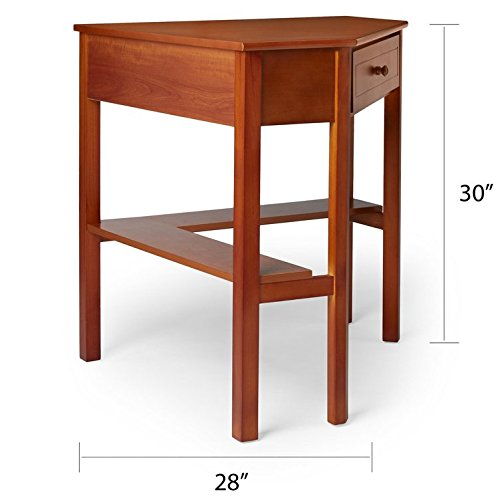 This classically styled desk utilizes a small space for a big impact, with stylish under-desk shelving and a drawer to hide clutter. Simple Living Wood Corner Computer Desk (Cherry) by Simple Living Products (Image #4)