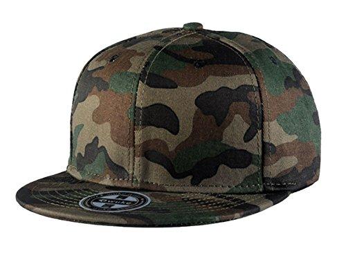 WUKE Men's Adjustable Plastic Snap Closure Blank Camouflage Camo Baseball Cap (Plastic Snap Adjustable)