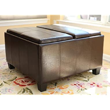 Home Life Mansfield Leather Espresso Tray Top Storage Ottoman