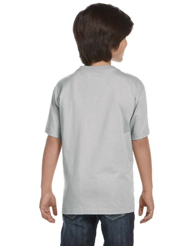 2-Pack Hanes ComfortSoft Youth Short Sleeve Tagless T-Shirt, Lt Steel, S (6/7) (Youth T-shirt Grey)