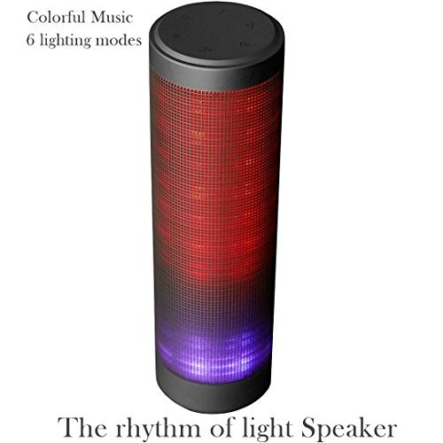 (LUOOV Colorful Portable Wireless Bluetooth Speaker with 6 light models and HD Sound and Bass (Black))