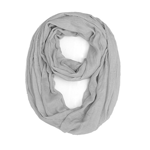 3 Packs Lightweight Plain Infinity Scarf or Oblong Scarf For Women Scarf Shawl Wrap,Black, White, Grey, One Size by Genovega (Image #2)