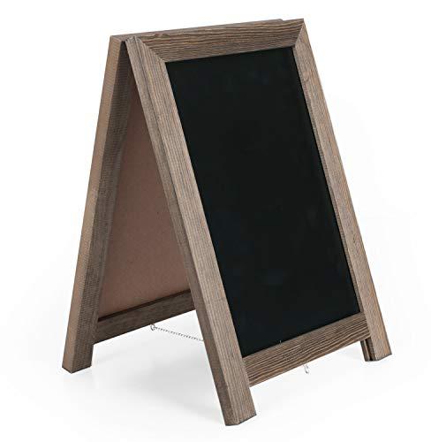 Ilyapa Rustic Wooden Magnetic Tabletop Chalkboard Sign - 10x14 Wood A-Frame Standing Sandwich Board Menu Display - Brown