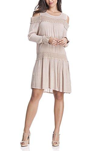 Laura Moretti - Vestido con bordados, detalles calados y aberturas en los hombros Rosa