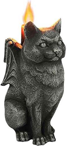 Ebros Gift Stoic Guardian Feline Winged Cat Gargoyle Gothic Candle Holder Statue 5.5″ H Fantasy Macabre Medieval Gargoyles Candleholder Accent Figurine