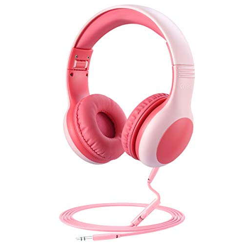 (2019 New) Kids Headphones, Volume Limited Hearing Protection Wired Headphone, Audio Sharing Function, Kids Friendly, Tangle-Free Cord, School On-Ear Headphones for Children, Girl, Boy (Pink)