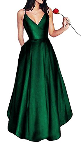 Bonnie Women's V-Neck Homecoming Dress 2017 Long Spaghetti Straps Satin Prom Party Dresses With Pockets BS037