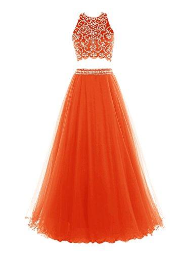 Deux Pièces De Perles Robe Longue Robes De Bal Soirée Orange Femmes Daadress