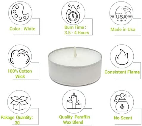 home, kitchen, home décor, candles, holders, candles,  tea lights 7 on sale CandleNScent Unscented Tealight Candles, 30 Pack, White, Made promotion