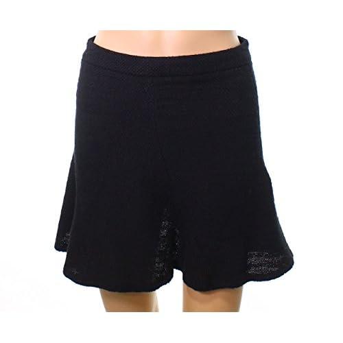 DEX Womens Medium Knitted Tweed Ruffle Mini Skirt Black M