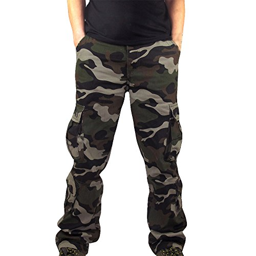 Men's Activewear Pants,Men Camouflage Pocket Overalls Casual Pocket Sport Work Casual Trouser Pants