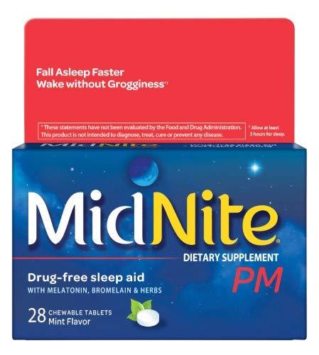 Midnite PM Drug-Free Sleep Aid, Chewable Tablets Mint (Pack of 4) ()
