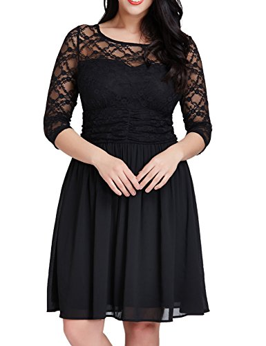 Grapent Women's Plus Size Cocktail Lace Top Chiffon Skirt Evening A-line Black Dress 12W