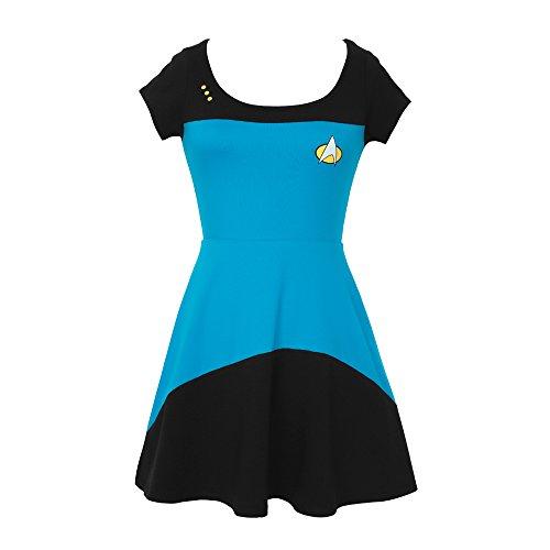 Star Trek The Next Generation Starfleet Uniform Juniors Skater Dress (Medium, Blue/Science)