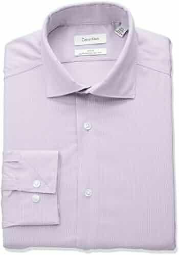 Calvin Klein Men's Non Iron Stretch Slim Fit Unsolid Solid Dress Shirt