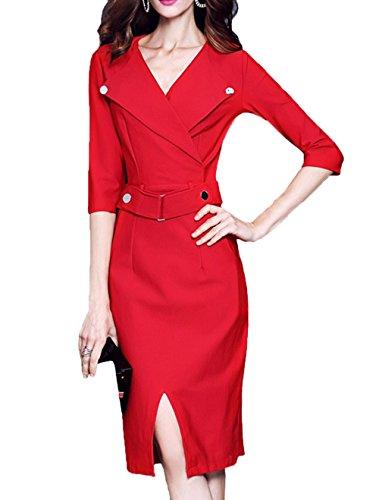 Scothen Vintage de la Mujer de manga larga elegante vestido de partido de negocios vestido de cóctel Knielanges vestido de noche Bodycon vestido Rojo