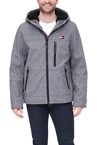 Tommy Hilfiger mens Filled Soft Shell Hooded Open Bottom Jacket With Full Sherpa Lining