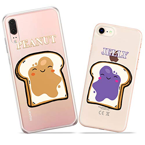 (Wonder Wild Jelly and Peanut Pair Case iPhone Xs Max X Xr 10 8 Plus 7 6s 6 SE 5s 5 TPU Clear Gift Apple Phone Cover Print Protective Double)