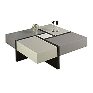 Table Basse Carree Laque Grise Moka Et Blanche Quadro L 100 X L