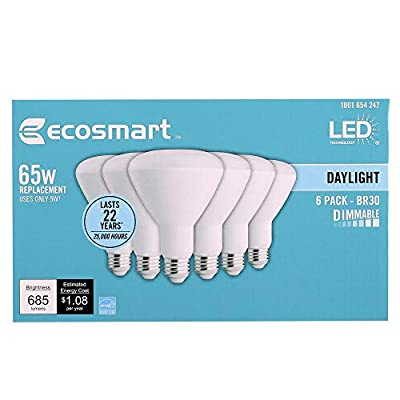 Ecosmart Daylight LED BR30 Dimmable Flood Bulb, 65W Replacement, 9 Watt, 685 Lumens - 5000K - Indoor/Outdoor Rated
