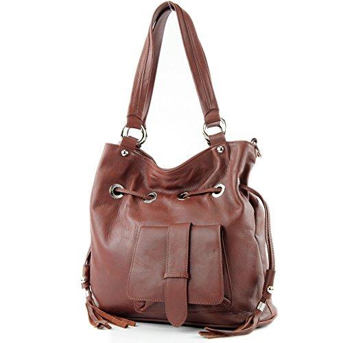 Sac italien femme sac à main en cuir sac porté à l'épaule noir cuir souple DS53, Präzise Farbe (nur Farbe):Mittelbraun