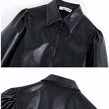 Camisas Negras de Cuero de imitación para Mujer Blusa de Manga Larga Blusas extragrandes Vintage para Mujer Camisa de Manga de Linterna de un Solo Pecho Salvaje, Delgada y Delgada XS Negro: